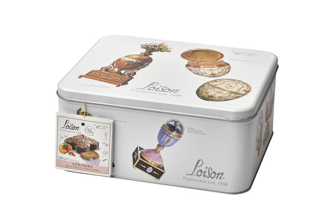 Colomba Loison in latta con uova Fabergé